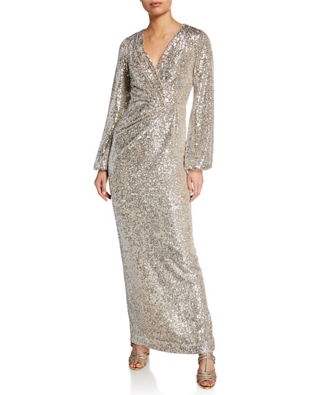 Pamella Roland Long-Sleeve Sequined V-Neck Gown