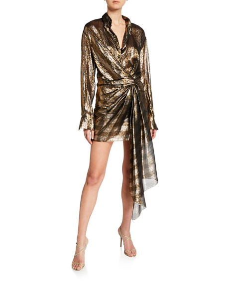 Oscar de la Renta Metallic-Striped Shirtdress