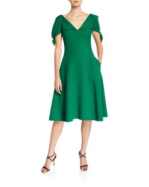 4397fea76b8 Oscar de la Renta V-Neck Slit-Sleeve Dress