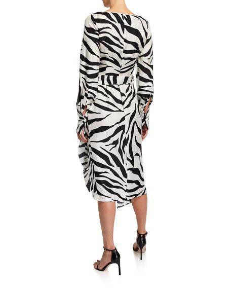 Oscar de la Renta Zebra-Print Crossover V-Neck Dress