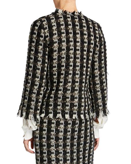 Oscar de la Renta Fringe-Trim Tweed Jacket