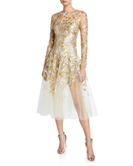Oscar de la Renta Golden-Leaf Cocktail Dress