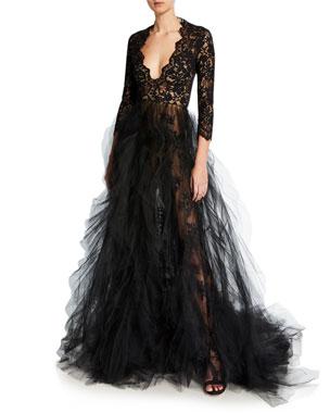 4a84e3a58f6 Oscar de la Renta Lace-Bodice Plunging V-Neck Tulle-Skirt Gown
