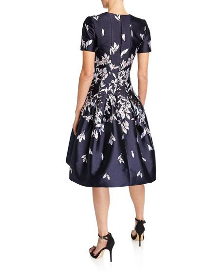 Oscar de la Renta Short-Sleeve Floral Mikado Fit & Flare Dress