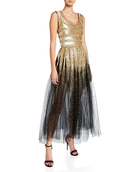 Oscar de la Renta Mixed-Stripe Sequined Tulle Cocktail Dress