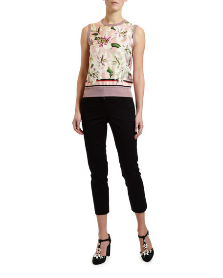 Dolce & Gabbana Lily Print Twill-Front Shell