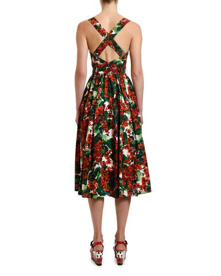 Dolce & Gabbana Geranium Print Cotton Midi Dress
