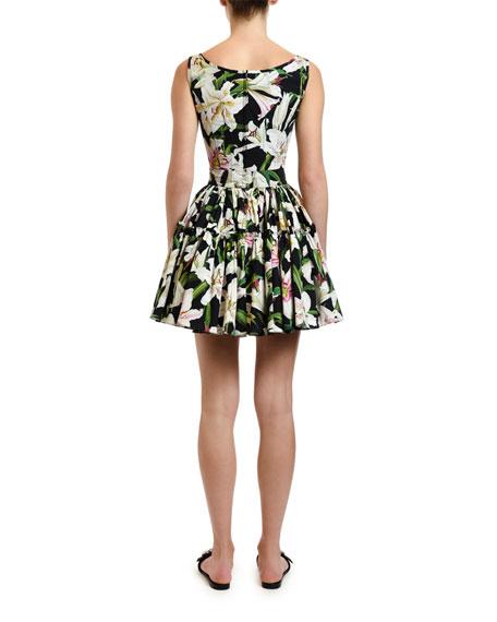 Dolce & Gabbana Lily-Print Poplin Bustier Top