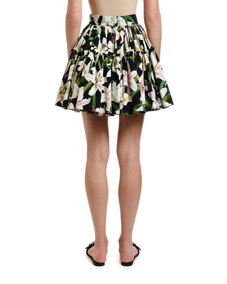 Dolce & Gabbana Lily-Print Poplin Tiered Short Skirt