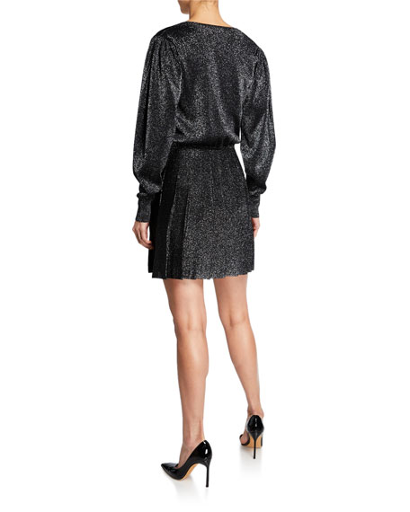 CUSHNIE Blouson-Sleeve Knit Mini Dress