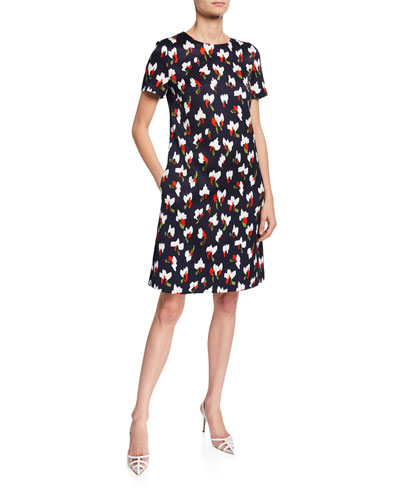 Cap-Sleeve Abstract Floral Dress