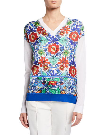 Escada Ceramic-Print Silk-Front Sweater