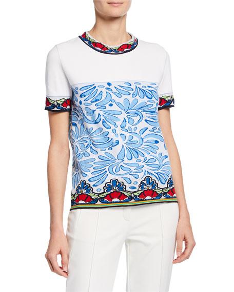 Escada Short-Sleeve Ceramic Intarsia Shirt
