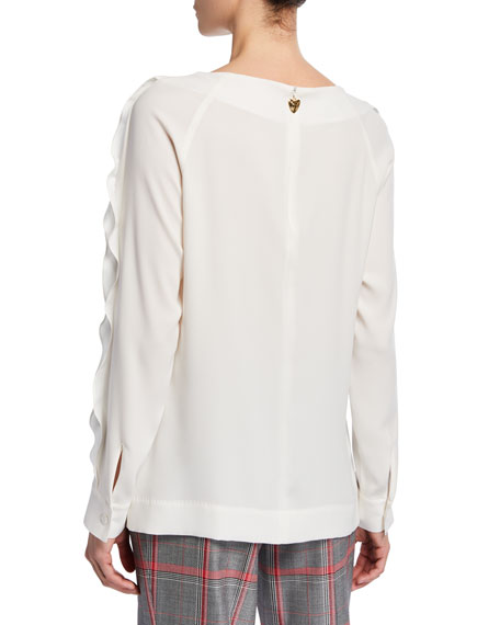 Escada Long-Sleeve Ruffle-Seam Blouse