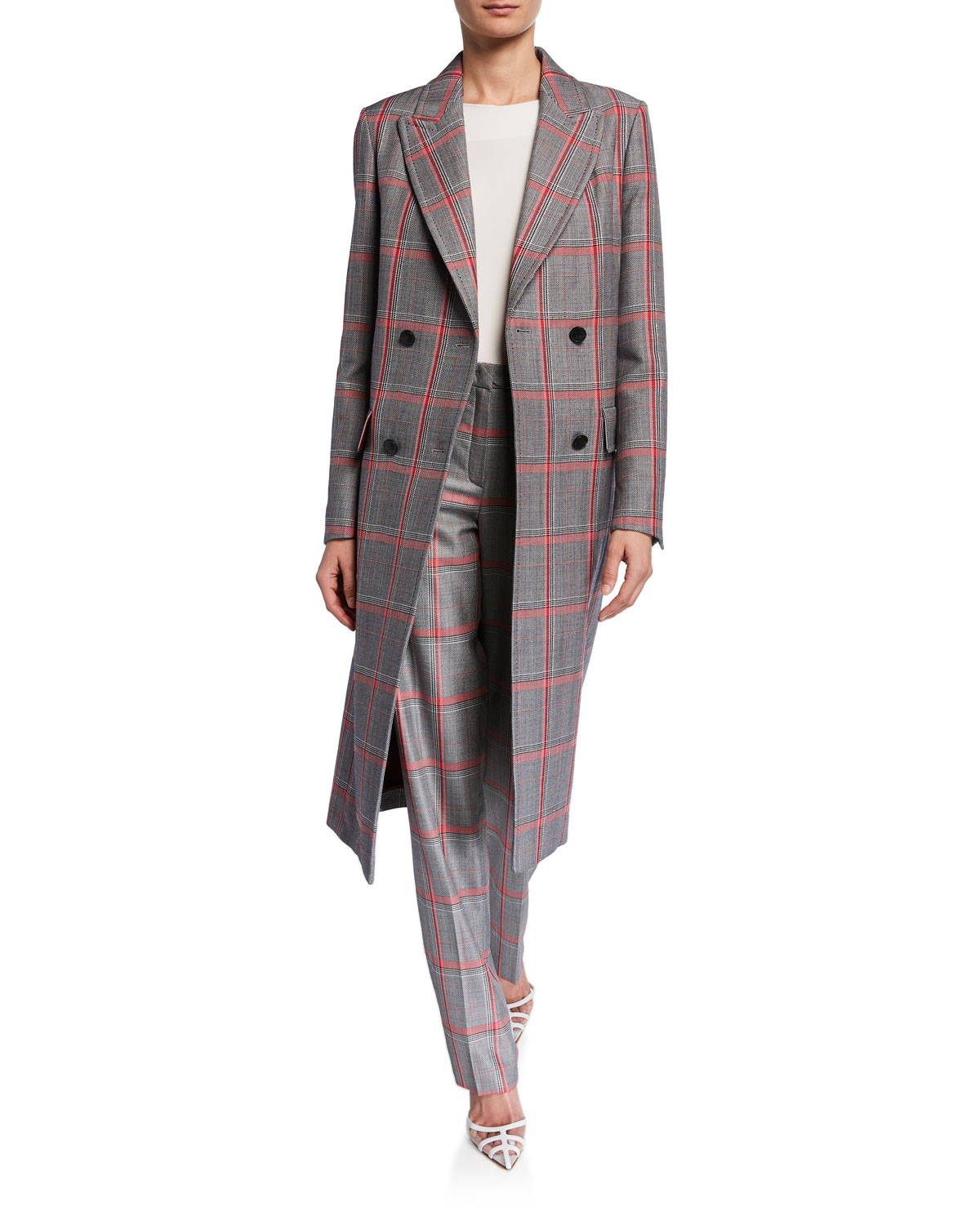 Glen Plaid Double Breasted Trench Coat by Escada