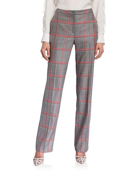 Escada Taminotas Plaid Classic Straight-Leg Trousers