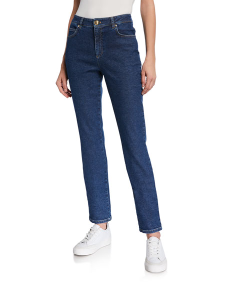 Escada J659 Crest-Embroidered Straight-Leg Jeans