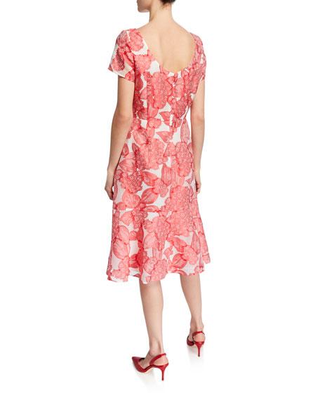 Escada Floral Fil Coupe Boat-Neck Dress