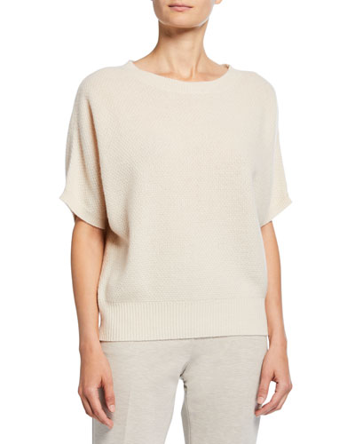 Dalila Cashmere Flutter-Sleeve Sweater