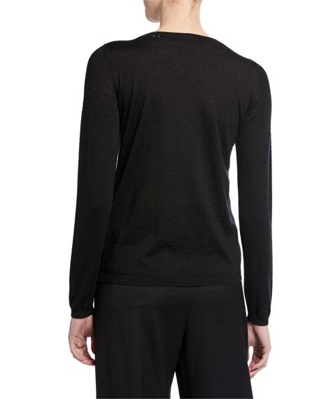 Maxmara Crystal Trim Silk-Cashmere Sweater, Black