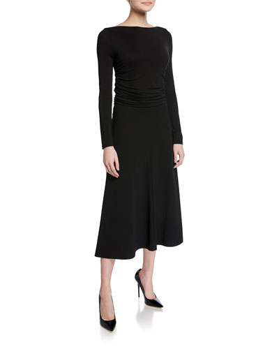 Tirreno Long-Sleeve Jersey Midi Dress