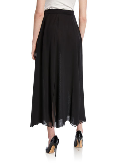 Maxmara Godet-Pleated Georgette Midi Skirt
