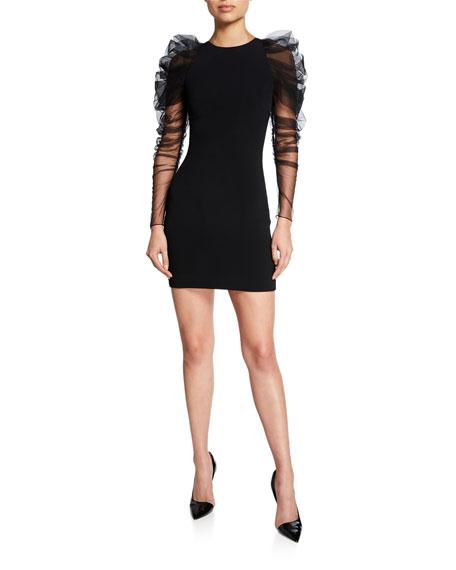 CUSHNIE Ruched Tulle-Sleeve Mini Dress