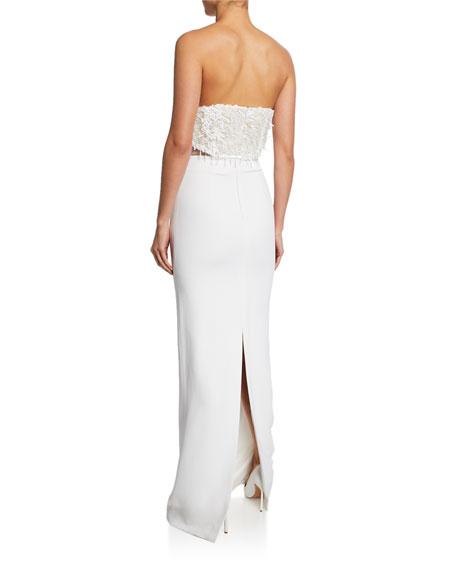 CUSHNIE Sequined Strapless Column Illusion Gown