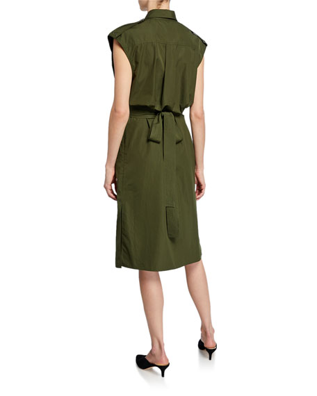 Derek Lam Sleeveless Belted Button-Front Utility Dress