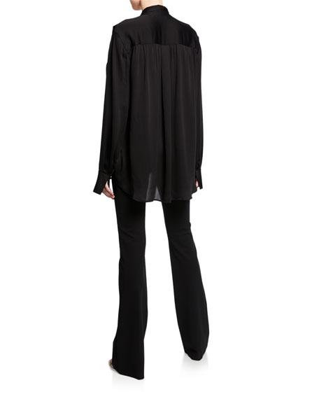 Derek Lam Oversized Long-Sleeve Draped Wrap Neck Blouse
