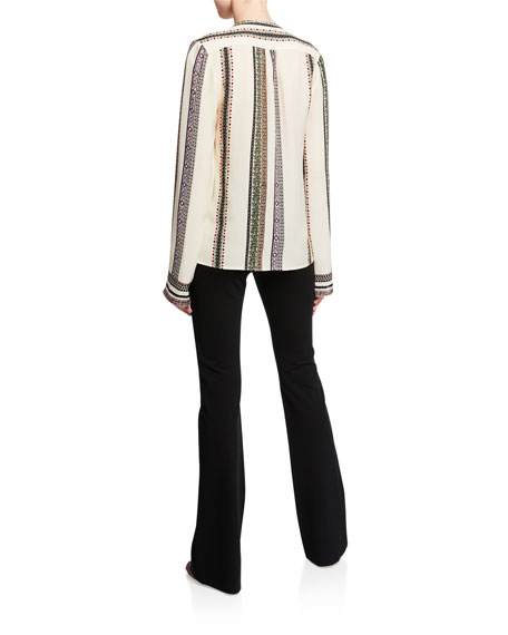 Derek Lam Kara Provencal Striped Button Blouse