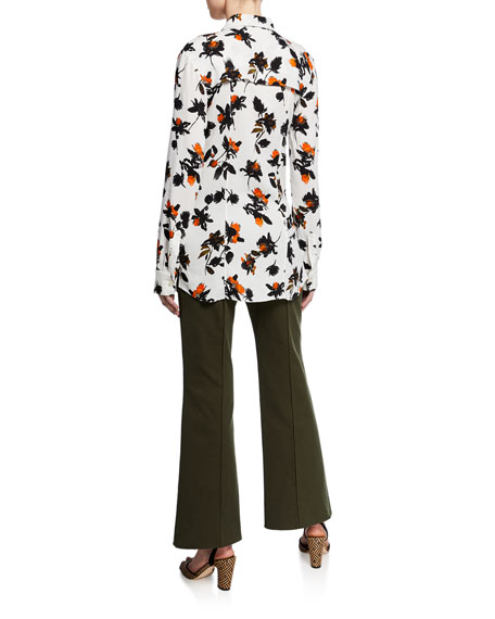 Image 2 of 2: Derek Lam Floating Floral Long-Sleeve Ruffled Blouse
