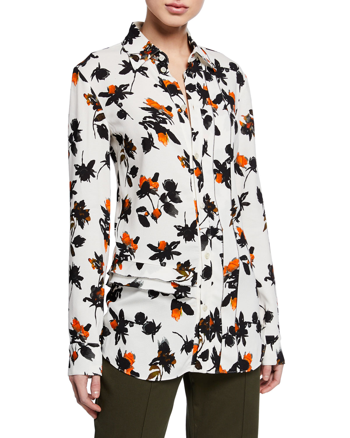 Derek Lam Floating Floral Long-Sleeve Ruffled Blouse