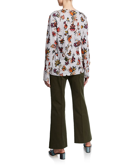 Derek Lam Long-Sleeve Indian Floral Print T-Shirt