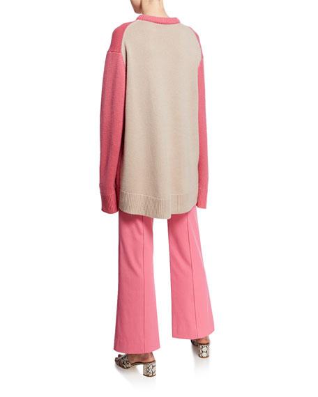 Derek Lam Oversized Crewneck Contrast Back Sweater