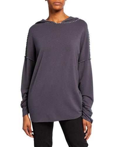 Topstitched Patchwork Sweatshirt