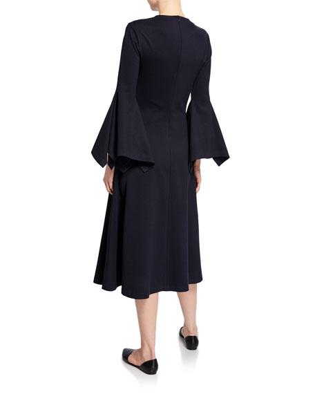 Rosetta Getty Jewel Neck Scarf Sleeve Cocktail Dress