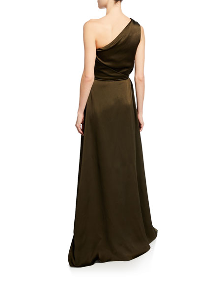 Rosetta Getty One-Shoulder Wrapped Gown