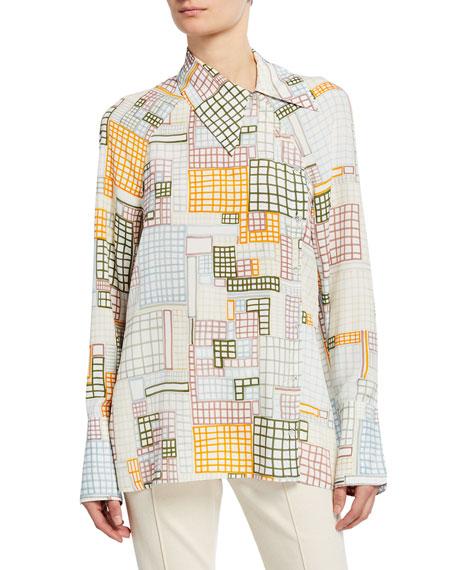 Rosetta Getty Grid-Print Asymmetric Shirt