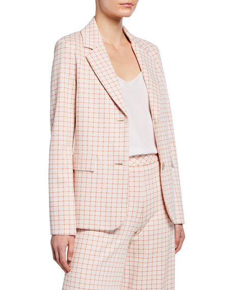 Image 2 of 3: Rosetta Getty Grid Interlocked Button Fitted Jacket