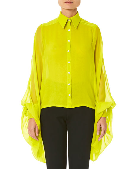 Carolina Herrera Wing-Sleeve Button-Front Blouse