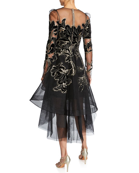 Monique Lhuillier Floral Velvet Embroidered Tulle Dress