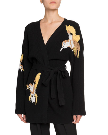 Altuzarra Jareth Wool-Cashmere Bird-Embroidered Cardigan