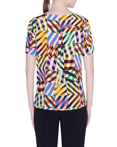 Akris punto Patchwork Silk Short-Sleeve Shirt