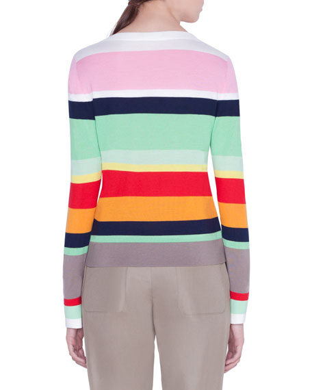 Akris punto Striped-Wool Boxy Sweater