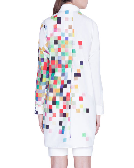 Image 2 of 3: Pixelated Print Button-Front Tunic