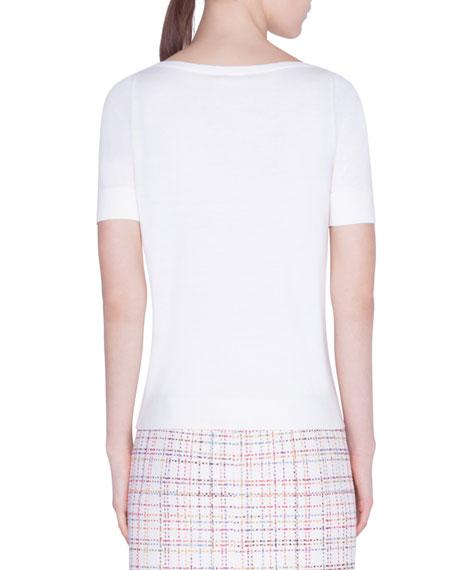 Akris punto 1/2-Sleeve Multicolor Studded Sweater