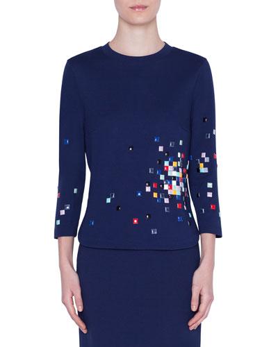3/4-Sleeve Pixel-Embellished Jersey Shirt