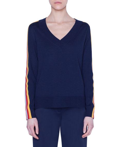 Akris punto Rainbow-Taped Wool Sweater