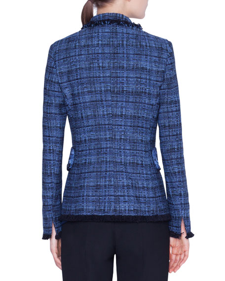 Akris punto Fringe-Trim Tweed Blazer Jacket